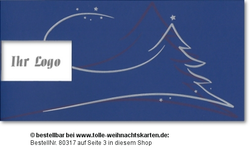 Weihnachtskarte bedruckt mit dem Firmenlogo