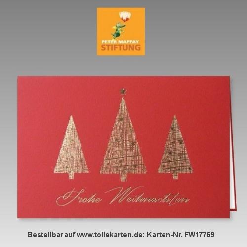 Moderne Weihnachtskarte in Rot zum günstigen Preis